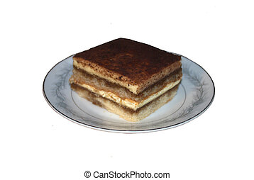tiramisu - Single serving size piece of  tiramisu.