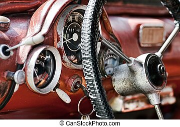 Interior in an old car - View of the interior of an old...