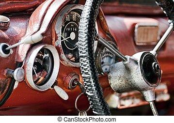 interior, viejo, coche