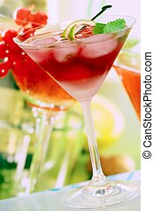 Drink - Summer alcoholic recreational drink with mint and...