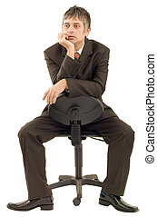 Spiral thinking flashback - Pensive businessman isolated on...