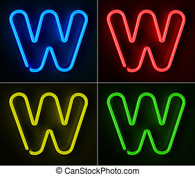 Neon Sign Letter W - Highly detailed neon sign with the...