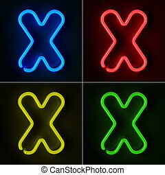 Neon Sign Letter X - Highly detailed neon sign with the...