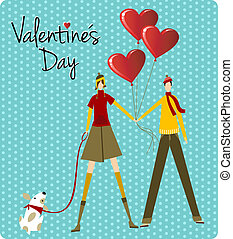 Couple and dog love Valentines day greeting card - Couple...