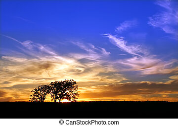 Byron Forest Preserve Sunset - Sunset over the prairie of...