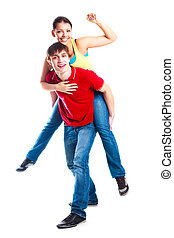 teenage couple - happy excited teenage couple, a boy giving...