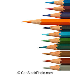 Lead orange color pencil and cool tone color pencil on white...