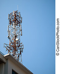Telephone transmission towers on Building