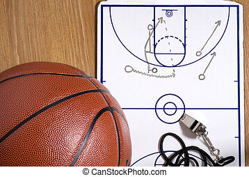 Basketball, Whistle and Clipboard with Alley-oop Play - A...