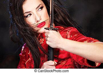 woman and katana/sword