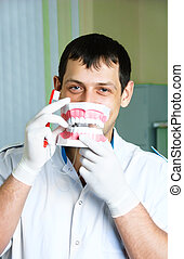cheerful dentist teaching a patient brushing teeth -...