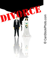 wedding couple figures and ripped paper divorce concept