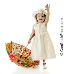 Happy Hello - A beautiful toddler dressed up in white,...