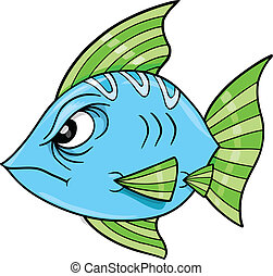 Tough Blue Fish Ocean Vector Illustration