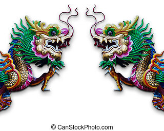 gemelo, chino, dragón, estatua, blanco