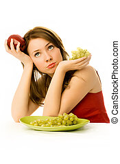 beautiful woman unwilling to eat fruit - beautiful sad woman...