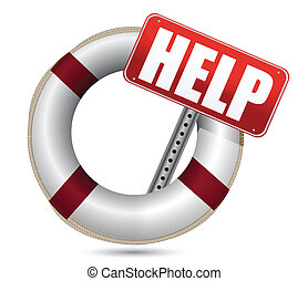 Lifebuoy with red help sign over white background