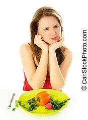 Desagradado, mulher, mantendo, dieta