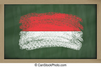 national flag of indonesia on blackboard painted with chalk...