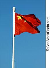 azul,  China, bandera, cielo, debajo