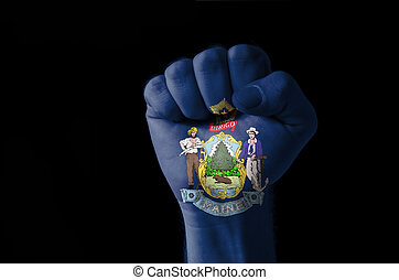 Fist painted in colors of us state of maine flag
