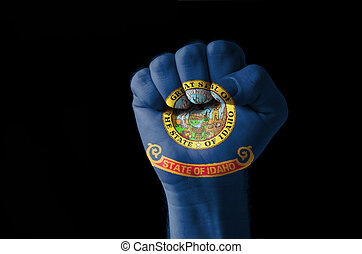Fist painted in colors of us state of idaho flag
