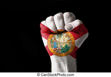 Fist painted in colors of us state of florida flag
