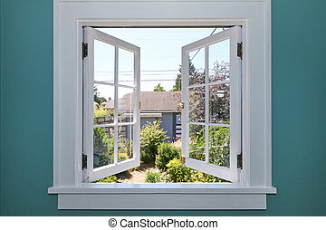 Open window to the back yard with small shed. - Open window...
