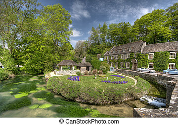 Typical Cotswolds garden in Bibury