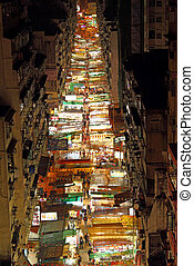 Temple Street with many booths in Hong Kong - HONG KONG - 9...