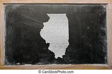 mapa, contorno, pizarra, nosotros,  Illinois, estado