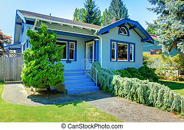 Blue old cute craftsman style home.