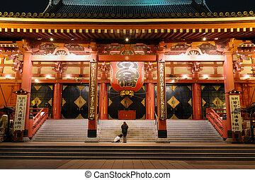 asakusa, templo, noche