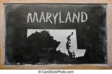 outline map of us state of maryland on blackboard - drawing...