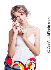 woman with money - beautiful thoughtful young blond woman...