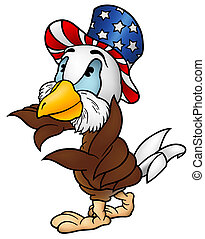 Eagle Patriot - Cartoon Illustration, Vector