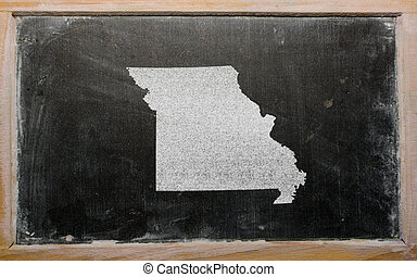outline map of us state of missouri on blackboard - drawing...