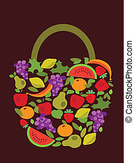 bag with fruits and vegetables pattern