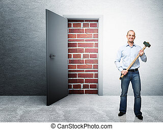 no problem - standing man with hammer and closed door