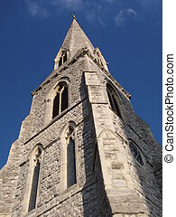Church Spire - Church spire against blue sky, Brentford,...