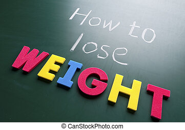How to lose weight, colorful words on blackboard