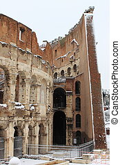 Colosseum under snow - Colosseum in Rome under snow