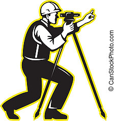 Surveyor Engineer Theodolite Total Station - Illustration of...