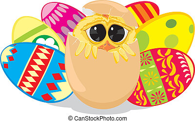 painting eggs - easter chick