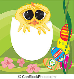 Easter chick - wishes - Easter painting chicken eggs -...