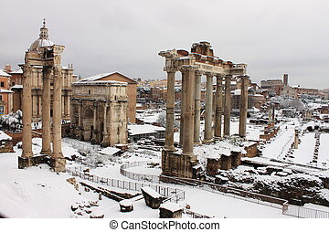 Roman Forum under snow - Roman Forum in Rome under snow