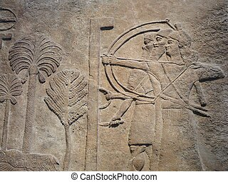 Ancient Assyrian wall carvings - Ancient Assyrian wall...