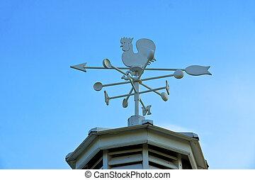 blu, direzione, vendemmia, galletto, cielo, contro, nubi, aletta, esposizione, vento