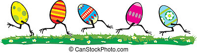 easter day - running eggs - happy easter, painting chicken...