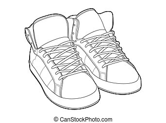 outline shoes - Black outline vector shoes on white...